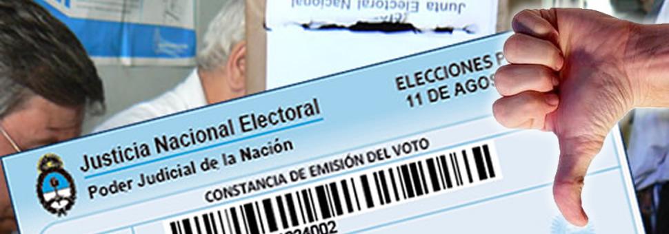 Registro de infractores :  ya esta online el sistema para justificar no haber votado en las PASO